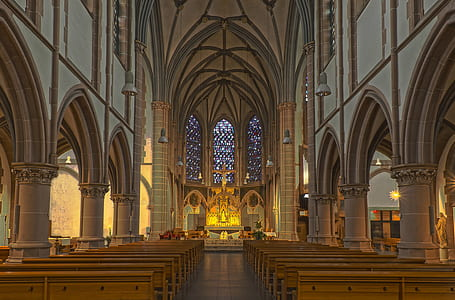 gray and brown chapel interior