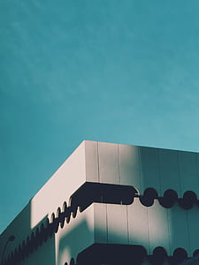 building, blue sky, architecture, abstract, design