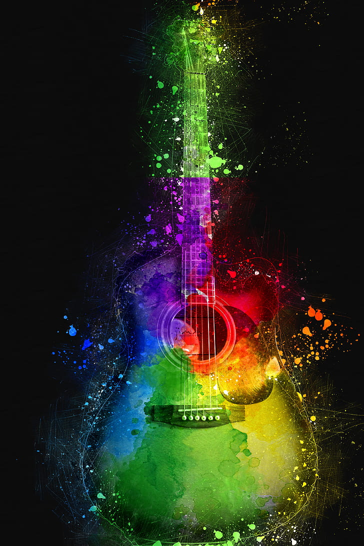 Royalty Free Photo Multicolored Single Cutaway Guitar Wallpaper Pickpik
