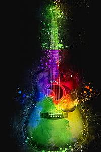 multicolored single cutaway guitar wallpaper