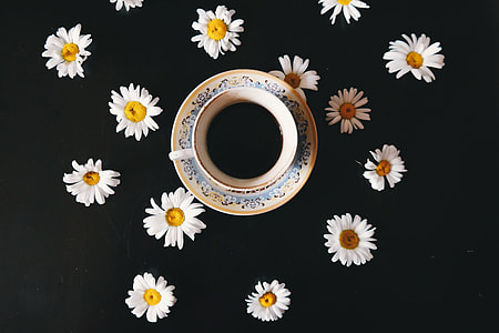 Overhead shot of coffee and flowers