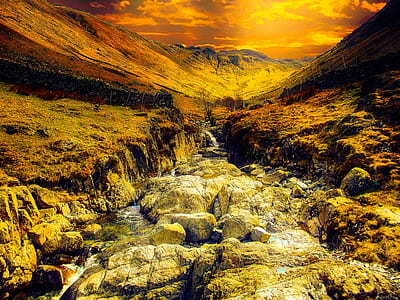 Water Stream With Brown Rocks Painting