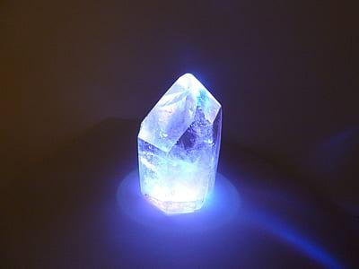 blue stone fragment with blue LED light