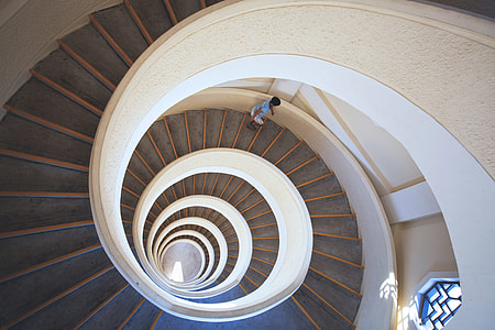 Spiral staircase in building interior