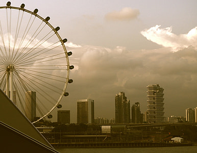 sepia photo of ferris wheel under clear sky