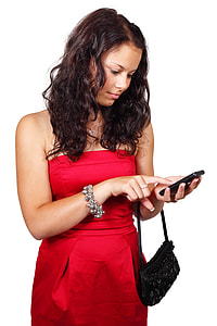 woman tapping black Android smartphone