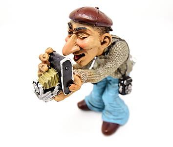 camera man ceramic figurine