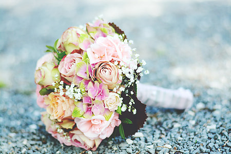 pink roses and white baby's-breath bouquet