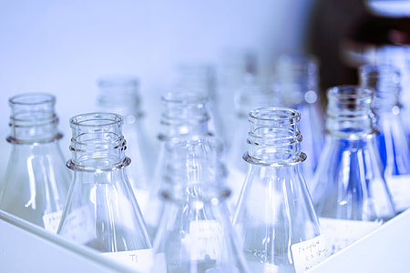 Chemistry bottles in laboratory