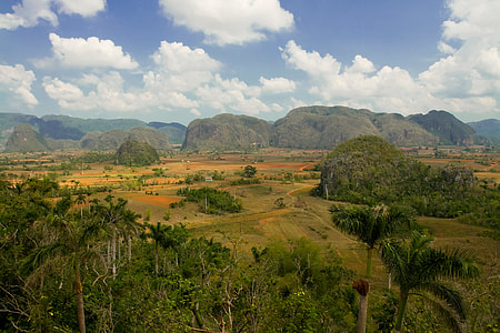 This landscape was taken at Viñales Valley in the Pinar del Río Province of Cuba. With spectacular rock formations and a lush tropical climate, this area was named a UNESCO World Heritage Site in 1999