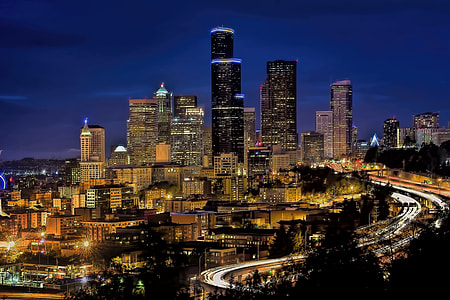 city, night time, skyline, downtown, seattle, cityscape