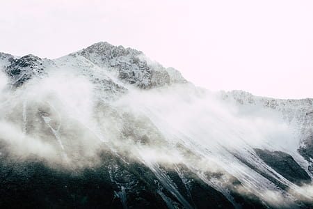 mountain, peak, summit, mist, fog