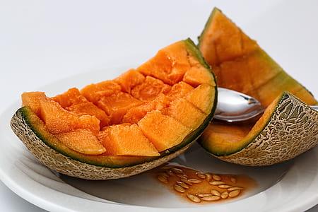 cantaloupe, sweet melon, melon, muskmelon, rock melon, spanspek
