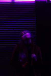 purple, woman, night, dark