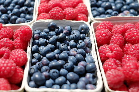 photo of blueberries and raspberries
