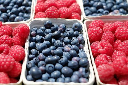 photo of blueberries and raspberries