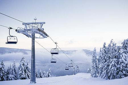 Empty Chair Ski Lift on Bright Winter Day