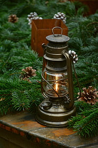 lantern beside the artificial leaves