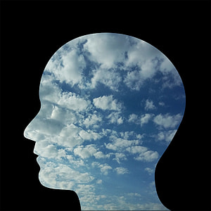 person head-shaped cloudy sky illustration