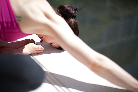 woman bending her body