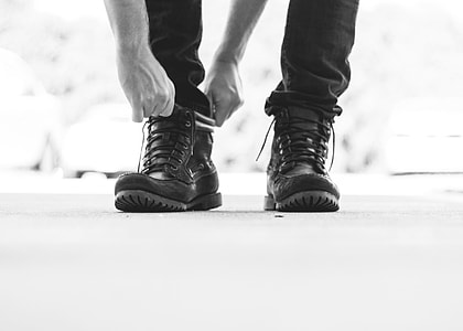 person, leather, lace-up, combat boots, boots, laces