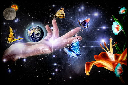 planet earth on glowing hand with moon and butterflies artwork