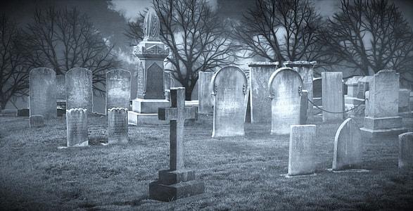 cemetery grayscale photo