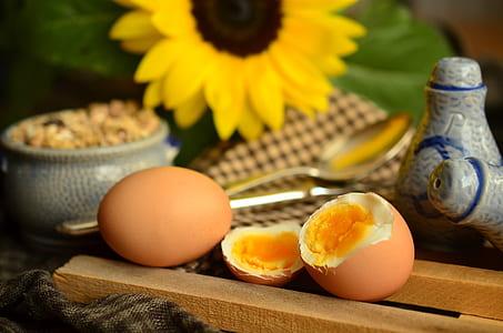 two brown hardboiled egg