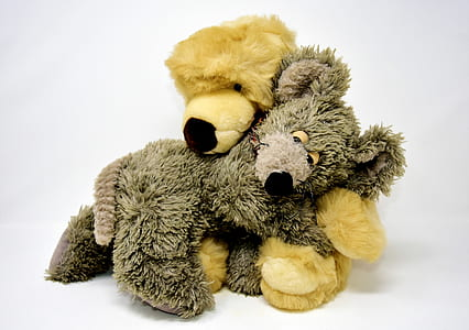 bear and mouse hugging plush toys