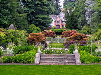 landscape photography of garden surrounded by green leaf trees