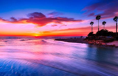 panoramic photo of beach during sunset