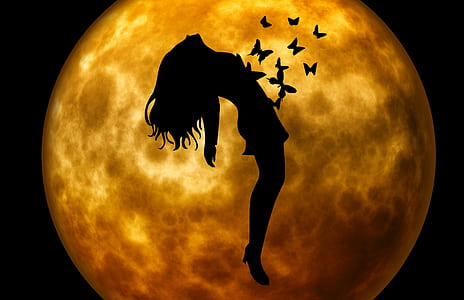 silhouette of woman and butterflies in front of moon