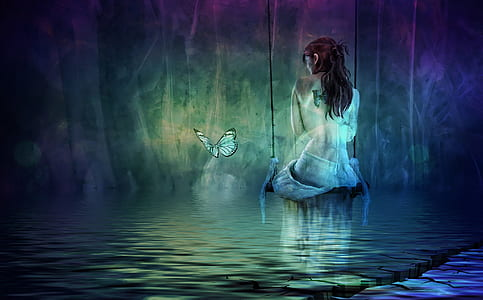 naked woman and butterfly digital wallpaper