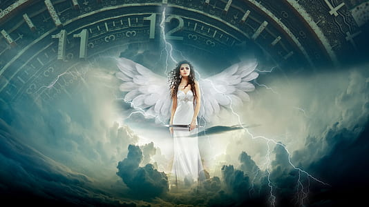 female angel holding sword while standing on clouds