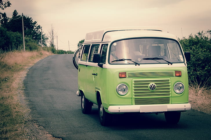 green Volkswagen bus photography during daytime