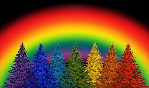 multicolored trees illustration
