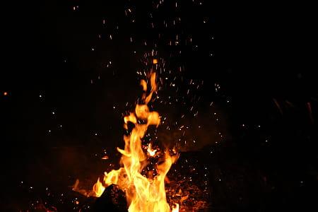 tilt shift lens photography of bonfire