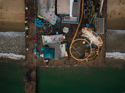 aerial view of amusement park on beach during daytime