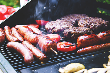 Sausages and meat on BBQ,