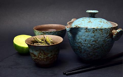 blue ceramic container