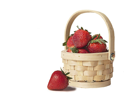 Strawberries on wicker basket