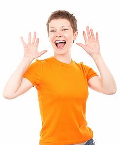 woman wearing orange crew-neck t-shirt