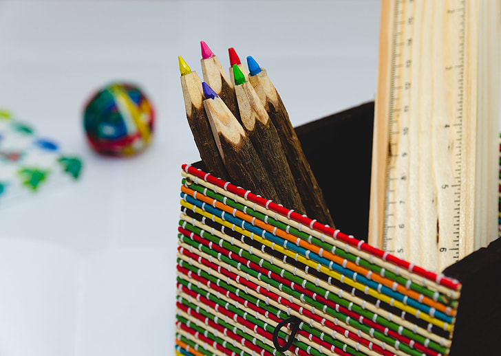 Color Pencils Ruler Desk