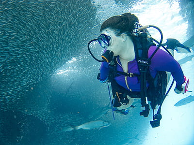 person wearing diving gear set