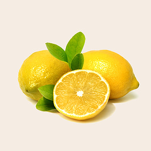 three yellow lemon fruits
