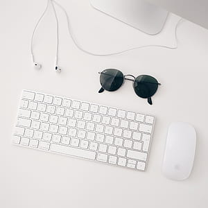 white Apple magic keyboard and mouse