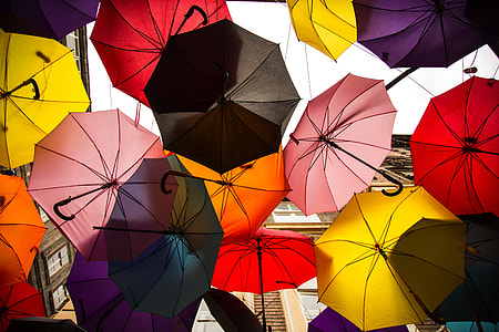 photography of assorted-color umbrellas