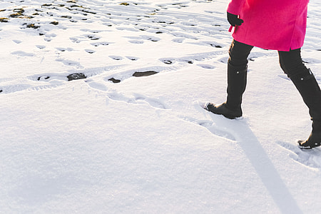 Woman in Black Knee High Boots Walking in Snow