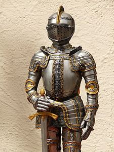 silver and gold soldier armour
