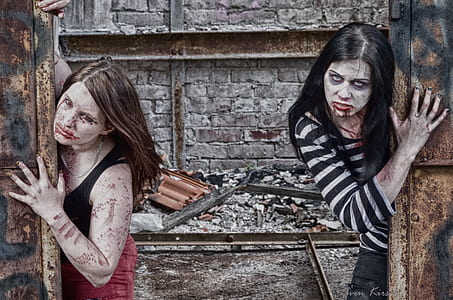 two woman in zombie-themed makeup
